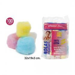 Algodón Bolas Colores, NATURAL CARE, 100uds. - Imagen 1