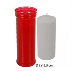 Velón Rojo, WAT, 6x16,5cm. - Imagen 1