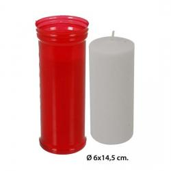 Velón Rojo, WAT, 6x14,5cm. - Imagen 1