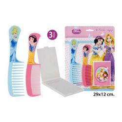 2 Peines + 1 Espejo Princesas, DISNEY, 3uds. - Imagen 1