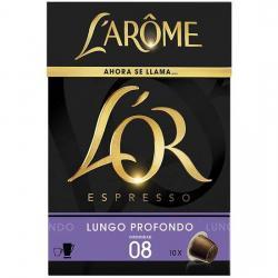 LUNGO PROFONDO LAROME 10 CÁPSULAS DE CAFÉ ESPRESSO, INTENSIDAD 8 - Imagen 1