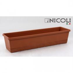JARDINERA C/BAJO PLATO 40cm TERRACOTA BALCONCINO - Imagen 1