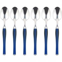 SET DE 6 CUCHARAS DE MESA ACERO INOXIDABLE AZULES