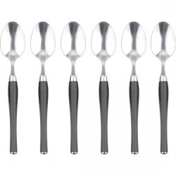SET DE 6 CUCHARAS DE MESA  ACERO INOXIDABLE GRISES